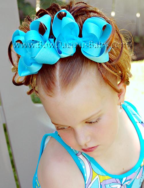 Emma Bow Boutique Hair Bows Double Layered Plain Center, Color Choices