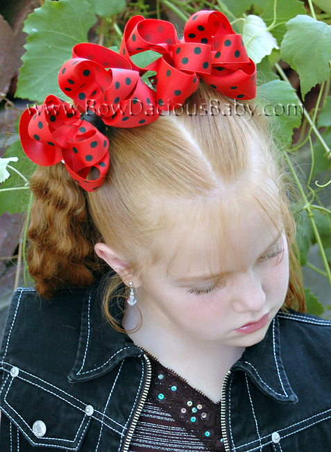 Emma Bow Boutique Hair Bows Double Layered Polka Plain Center, Color Choices