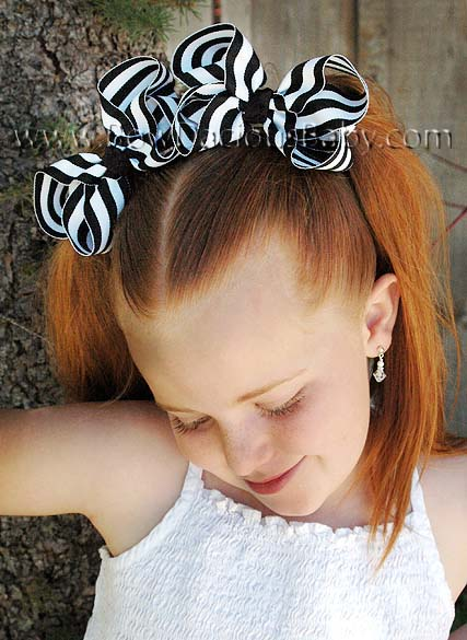 Emma Bow Boutique Hair Bow in Stripes Knot Center, Color Choices