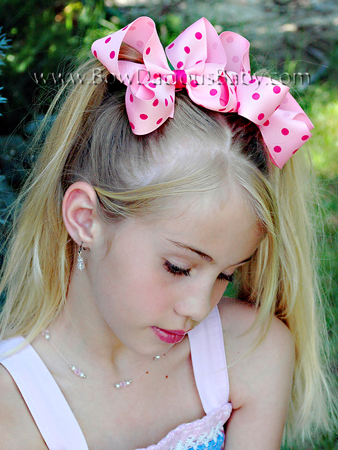 Emma Bow Boutique Hair Bow in Polka Plain Center, Color Choices