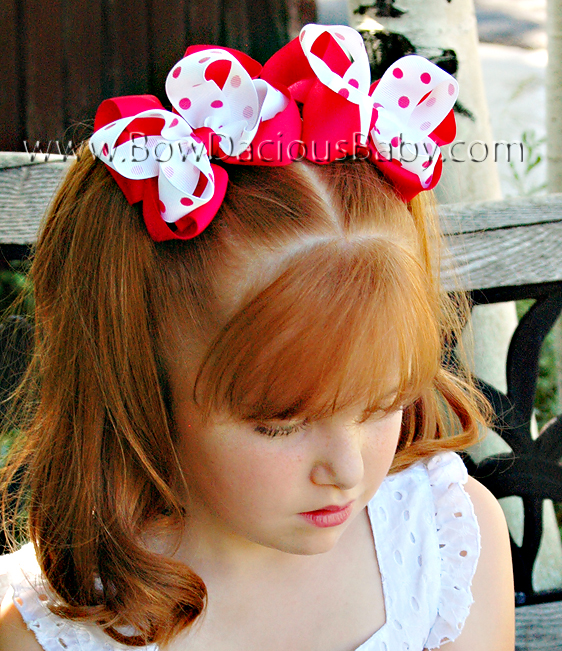 Emma Bow Boutique Hair Bow Solid and Polka Plain Center, Color Choices