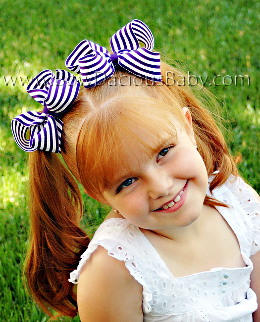 Emma Bow Boutique Hair Bow in Stripes Plain Center, Color Choices