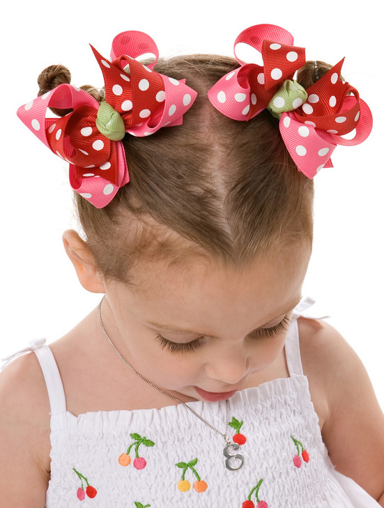 Cherry Baby Loopie Chic 2 Hair Bows or Headband