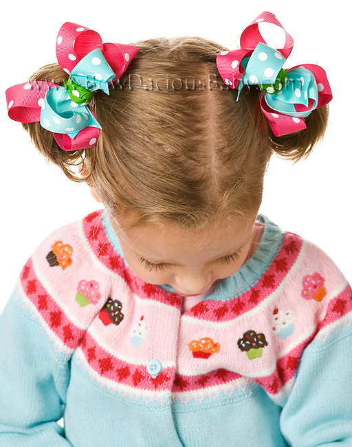 Cupcake Cutie Loopie Chic 2 Hair Bows or Headband