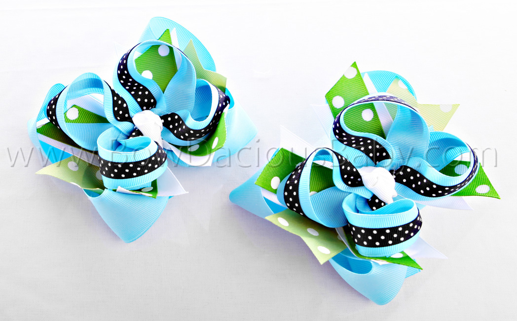 Fashion Flower DIVA 2 Hair Bows or Headband, Regular or Mini