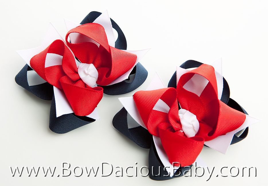 Flag Girl DIVA Hair Bows or Headband Regular or Mini