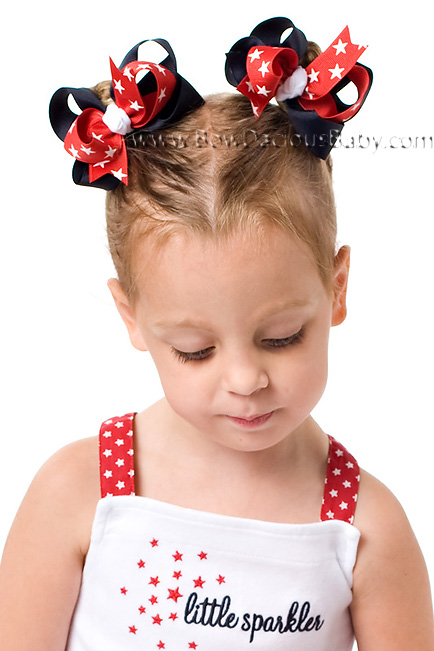 Red, White, and Blue Loopie Chic or Sweet Pea Hair Bows or Headband
