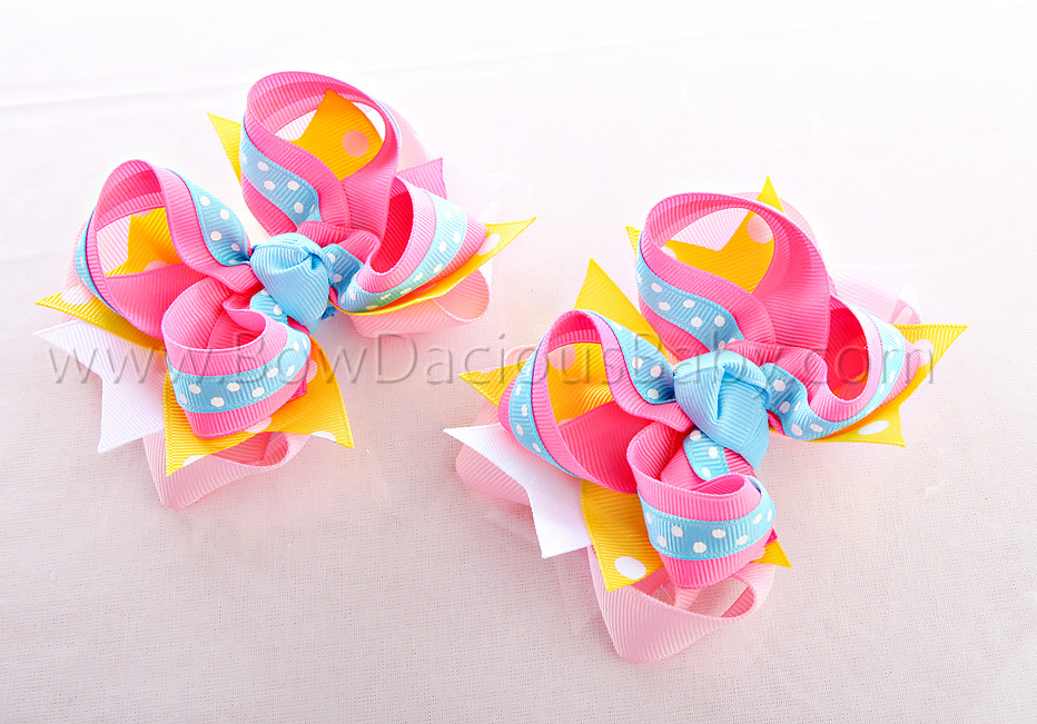 Happy Rainbow DIVA Hair Bows or Headband Regular or Mini