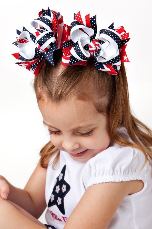 Flag Girl DIVA 2 Hair Bows or Headband Regular or Mini