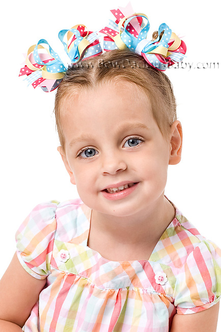 Spring Rainbow Itty Bitty DIVA Hair Bows or Headband