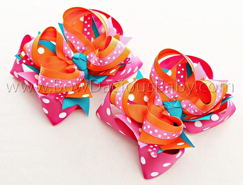 Spring Sparkle DIVA 2 Hair Bows or Headband, Regular or Mini