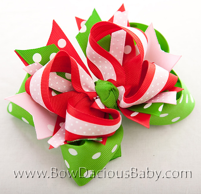 Watermelon Picnic DIVA 3 Hair Bows or Headband, Regular or Mini