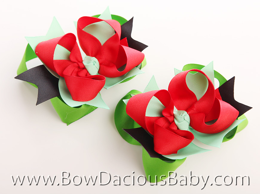 Watermelon Picnic DIVA 2 Hair Bows or Headband, Regular or Mini