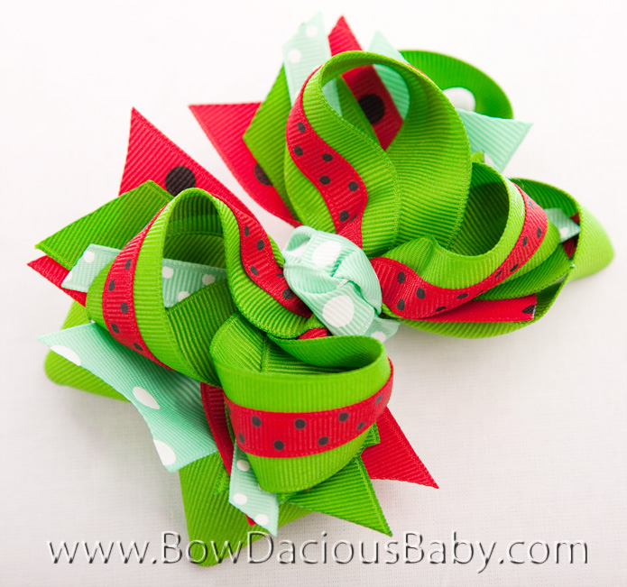 Watermelon Picnic DIVA 4 Hair Bows or Headband, Regular or Mini