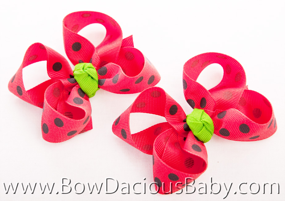 Watermelon Picnic Emma Bow Hair Bows or Headband, Regular or Mini