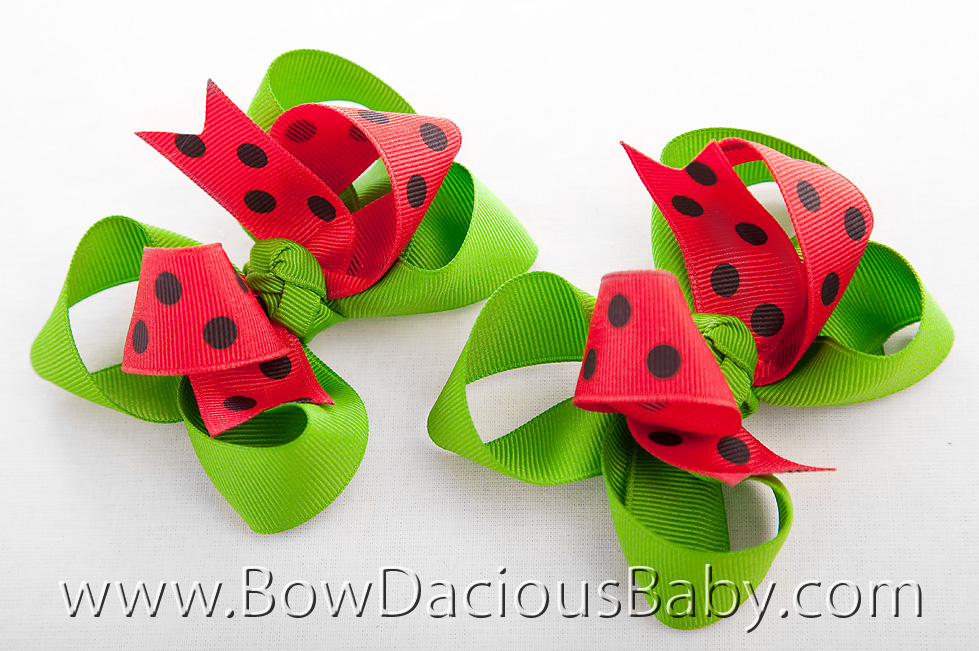 Watermelon Picnic Loopie Chic 2 Hair Bows, Regular of Mini