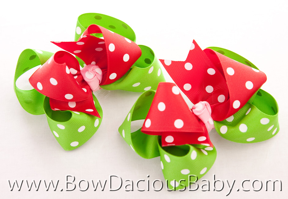 Watermelon Picnic Loopie Chic Hair Bows, Regular of Mini