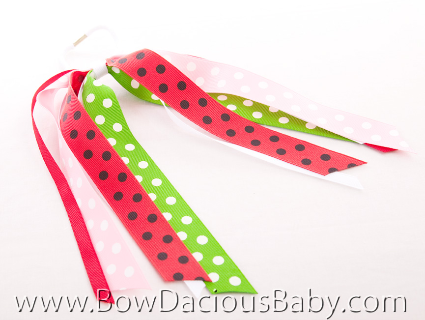 Watermelon Picnic Streamer Hair Bow