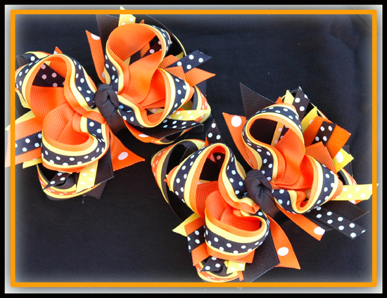 06 Candy Corn DIVA Hair Bows or Headband Regular or Mini
