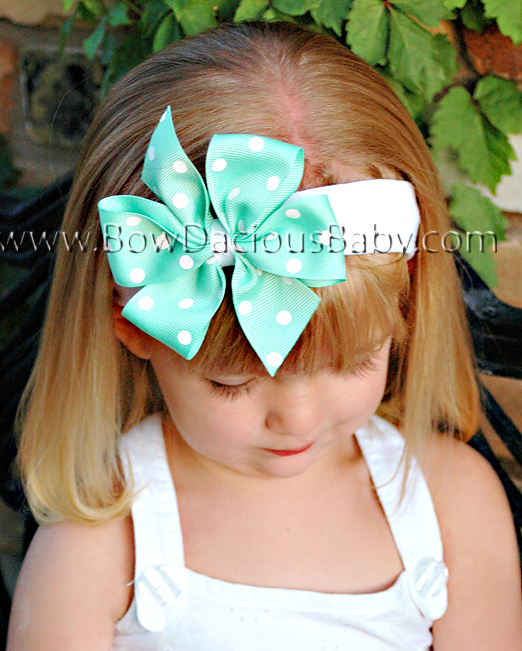 Traditional Boutique Headband Polka Plain Center, Color Choices