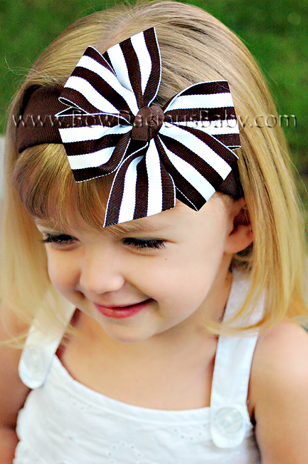 Traditional Boutique Headband in Stripes Knot Center, Color Choices