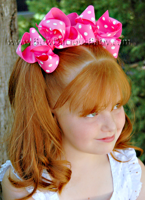*Loopie Chic Boutique Hair Bows in Polka Knot Center, Color Choices