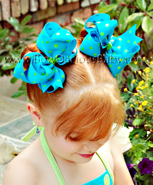 *Loopie Chic Boutique Hair Bows in Polka Plain Center, Color Choices