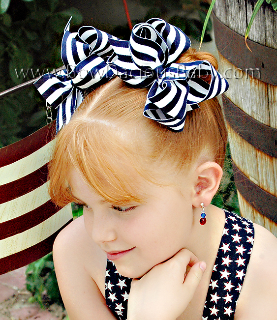 *Loopie Chic Boutique Hair Bows in Stripes Plain Center, Color Choices