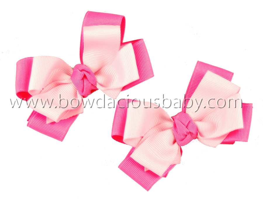 Mini Classic Boutique Hair Bows Double Color Knot Center, Color Choices