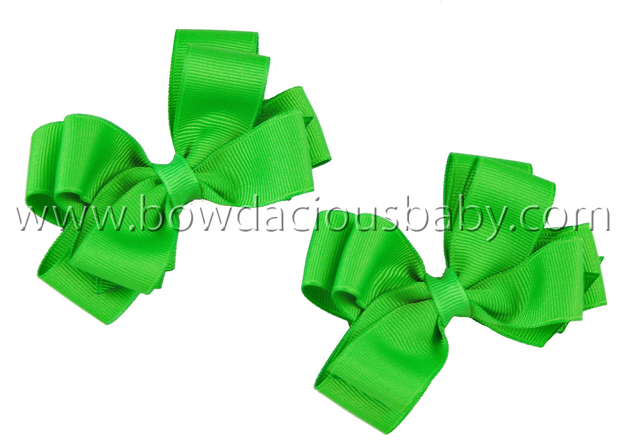 Mini Classic Boutique Hair Bows Double Layer Plain Center, Color Choices