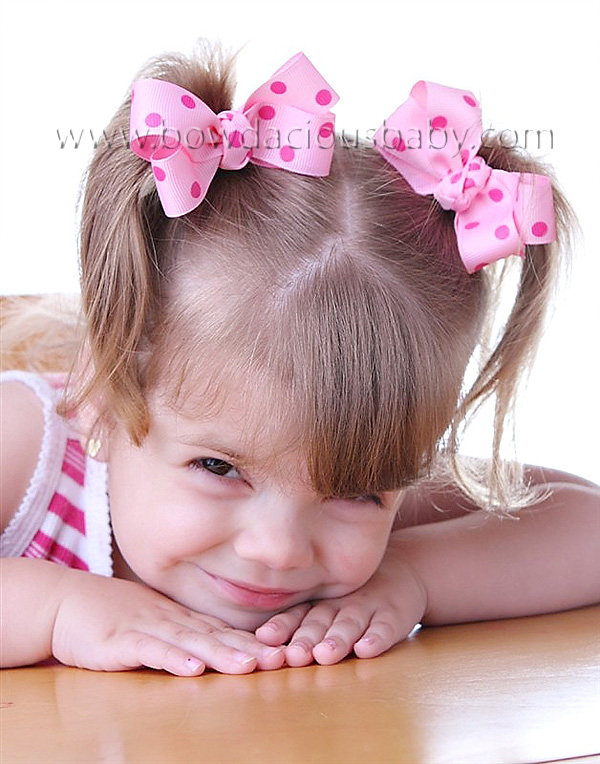 Mini Classic Boutique Hair Bows in Polka Knot Center, Color Choices