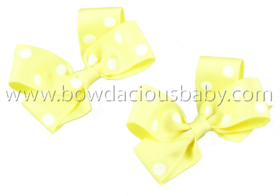 Mini Classic Boutique Hair Bows in Polka Plain Center, Color Choices