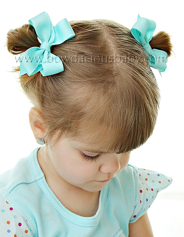Mini Classic Boutique Hair Bows Plain Center, Color Choices