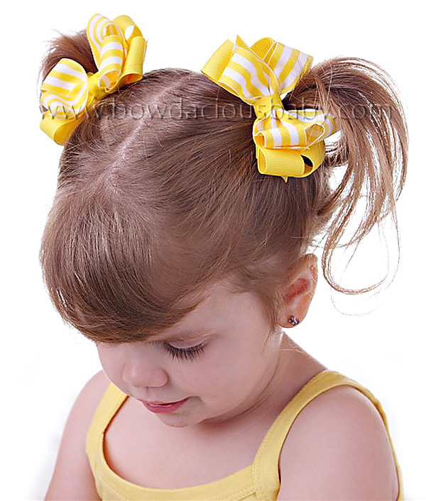 Mini Classic Boutique Hair Bows Layered in Solid and Stripes Plain Center, Color Choices