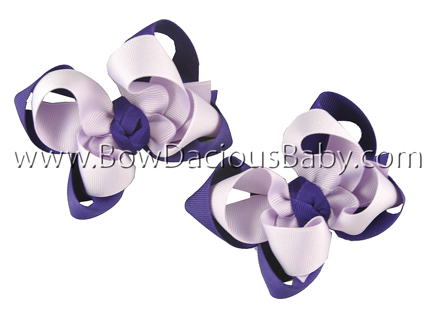 Mini Emma Double Color Hair Bows Knot Center, Color Choices