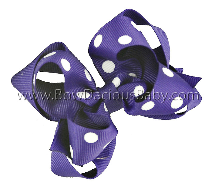Mini Emma Boutique Hair Bows Layered in Solid and Polka Plain Center, Color Choices