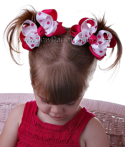 Mini Emma Boutique Hair Bows Solid and Polka Knot Center, Color Choices