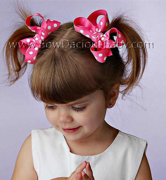 Mini Emma Boutique Hair Bows in Polka Knot Center, Color Choices
