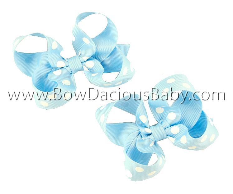 Mini Emma Boutique Hair Bows in Polka Plain Center, Color Choices