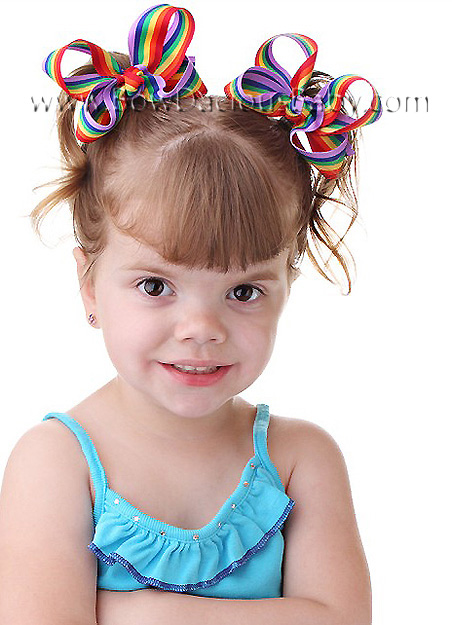 Mini Emma Boutique Hair Bows in Stripe Knot Center, Color Choices
