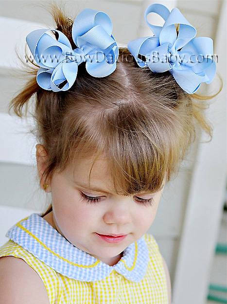 Mini Emma Double Layered Boutique Hair Bows Knot Center, Color Choices
