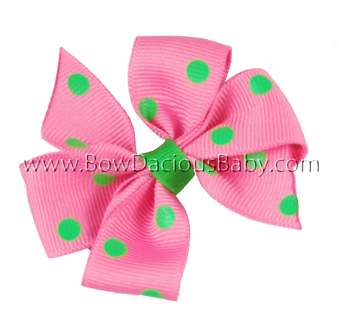Mini Traditional Boutique Hair Bow in Polka Plain Center, Color Choices