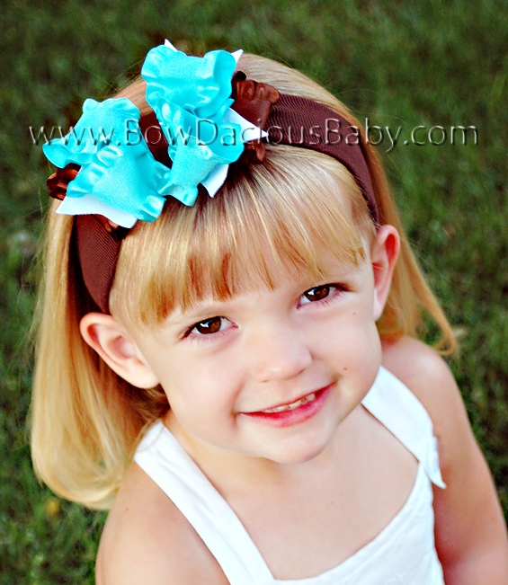 Double Color Ruffle Ribbon DIVA Boutique Headband, Color Choices