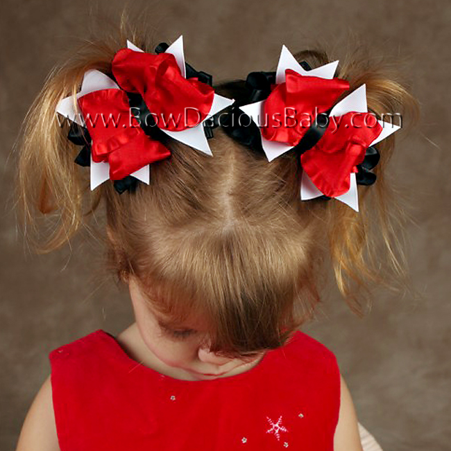 Double Color Ruffle DIVA Boutique Hair Bows