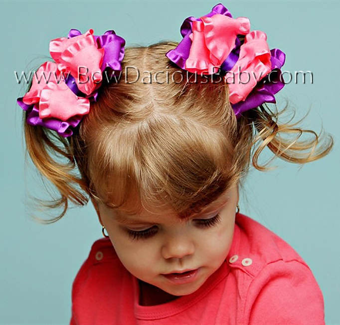 Double Color Ruffle Boutique Hair Bows