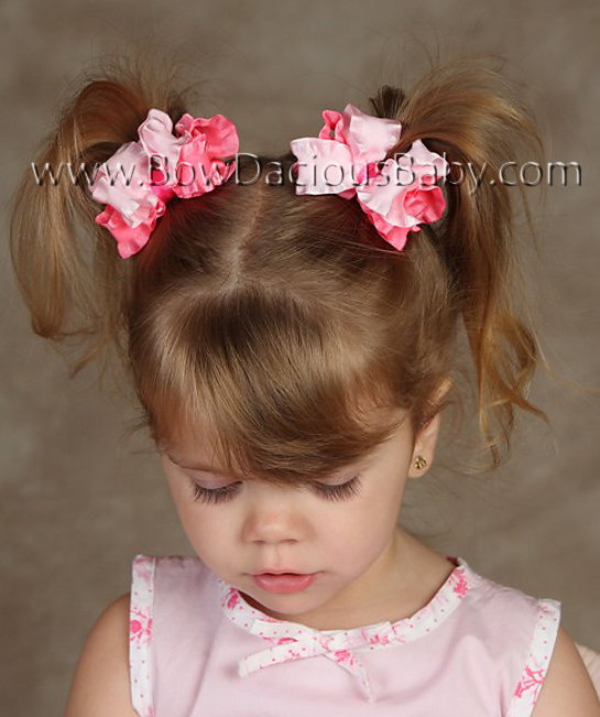 Mini Double Color Ruffle Ribbon Boutique Hair Bows