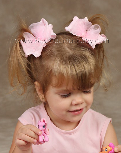 Ruffle Ribbon Organza Boutique Hair Bows