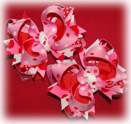 06 Hot Pink Valentines DIVA Hair bow Regular or Mini
