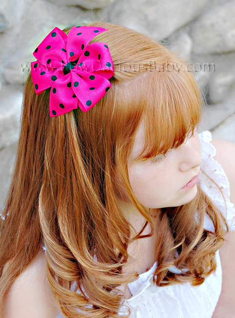 Traditional Polka Boutique Hair Bow Plain Center, Color Choices