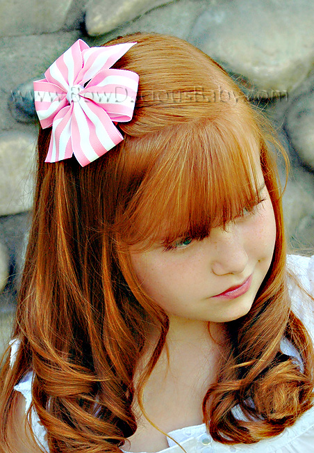 Traditional Stripe Boutique Hair Bows Plain Center, Color Choices